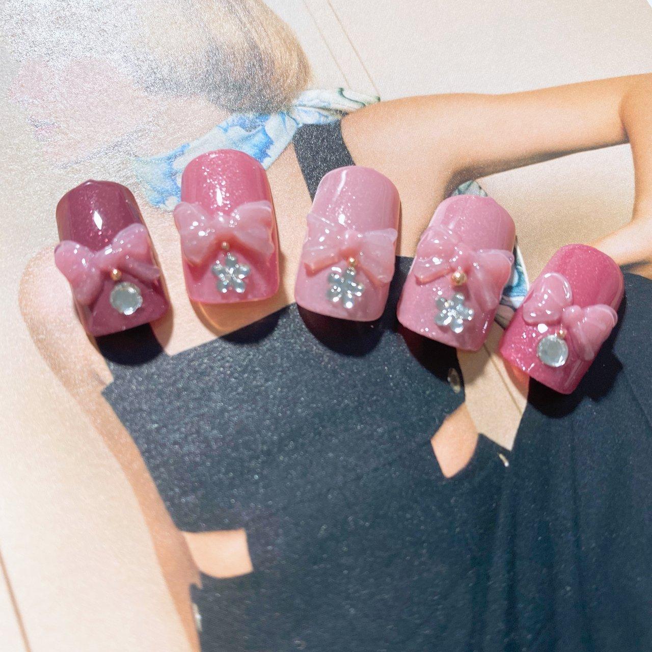 ぷっくりリボンネイル🎀 #3Dリボン #春ネイル #可愛いネイル #春 #夏 #ジェル #homesalon perle blue〜 #ネイルブック