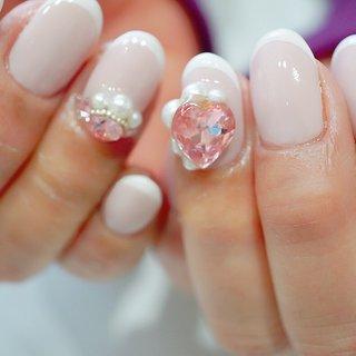 #ハートネイル#フレンチ#ピンク#かわいい #ange nail salon #ネイルブック