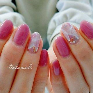 #ピンクネイル #だいりせき風 #春 #ハンド #ワンカラー #大理石 #ピンク #ジェル #お客様 #ティアラ☆ #ネイルブック