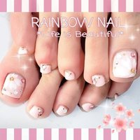 桜フットネイル🎵 #春 #フット #フラワー #ピンク #ジェル #お客様 #しろみちゃん #ネイルブック
