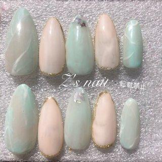 #スキニーオーバル #ジェルネイル #天然石ネイル #春 #メルカリにて販売中 #ラクマで販売 #春 #Z's nail #ネイルブック