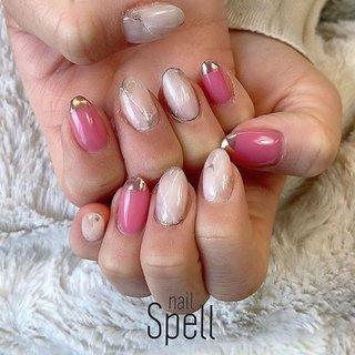 White stone💅 ︙ #gelnail#gel#nailspell#nailstagrame #nailsalonspell #nails #春ネイル#ネイル#手描きアート#ジェルネイル#ネイルデザイン#大理石ネイル#ネイルブック #kokoist#ネイル#上田市ネイルサロン#pinknails #ピンクネイル #nailSpell_azusa #ネイルブック