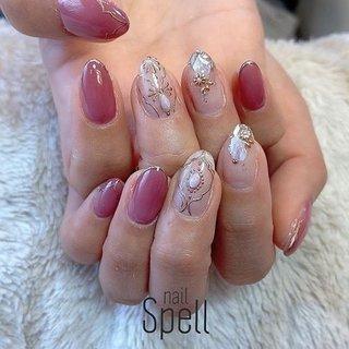 pink gold💅 ︙ #gelnail#gel#nailspell#nailstagrame #nailsalonspell #nails #春ネイル#ネイル#手描きアート#ジェルネイル#ネイルデザイン#モロッカンネイル#ネイルブック #kokoist#ネイル#上田市ネイルサロン#pinknails #ピンクネイル#ピンクゴールドネイル #nailSpell_azusa #ネイルブック