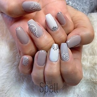 Mat gray💅 ︙ #gelnail#gel#nailspell#nailstagrame #nailsalonspell #nails #春ネイル#ネイル#手描きアート#ジェルネイル#ネイルデザイン#モロッカンネイル#ネイルブック #kokoist#ネイル#上田市ネイルサロン#pinknails #グレーネイル#マットネイル #nailSpell_azusa #ネイルブック