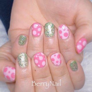#ドットネイル#ピンクネイル #BerryNail(ベリーネイル) #ネイルブック