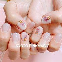 #ピンクマジック は京都市右京区西院のネイルサロンです。  #ハンドネイル #おしゃれネイル #西院ネイルサロン #秋ネイル #シンプルネイル#春ネイル #ハンド #フラワー #ショート #ベージュ #ピンク #ボルドー #ジェル #お客様 #Pinkmagic♡miki #ネイルブック