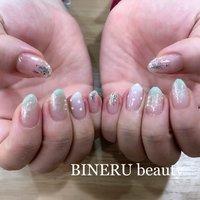 春ネイル🌼 #春ネイル #ミントカラーネイル #キラキラネイル #ホログラムネイル #シャーベットカラーネイル #BINERU beauty #静岡ネイルサロン #BINERU beauty #ネイルブック