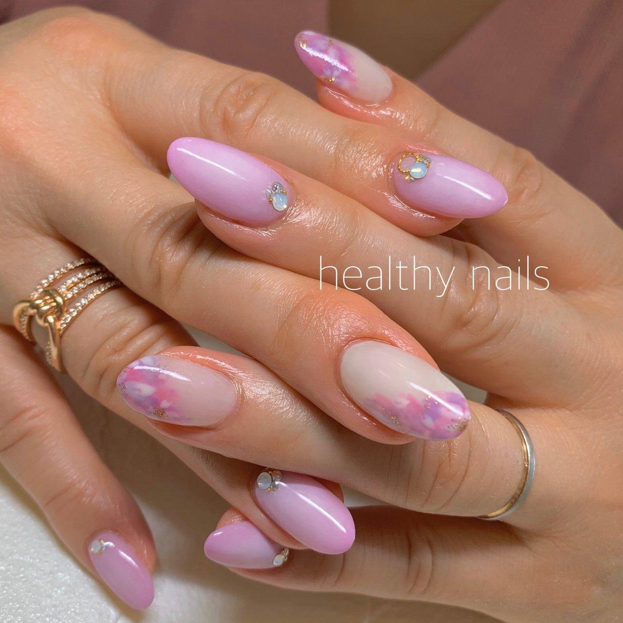 #春 #ピンク #healthy nails #ネイルブック