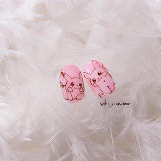 ピカチュウ🌸   #ネイル #ジェルネイル #ネイルアート #nail #nails #nailart #gelnail #福岡ネイル #福岡ネイルサロン #大牟田ネイル #美甲 #ピカチュウ #春 #キャラクター #ピンク #saki_cinnamon #ネイルブック