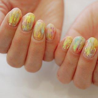 #フィルムネイル#オーロラ#キラキラ#ショートネイル #ange nail salon #ネイルブック