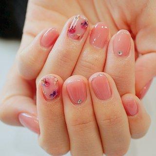 #押し花ネイル#フラワーネイル#ピンク#かわいい #ange nail salon #ネイルブック
