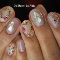 押し花×ラベンダー  イメージをお伝えくださって、好きにデザインさせていただいてありがたいです☺️💕  #春ネイル #PalFlulu nail&eyelash/salon&school #ネイルブック
