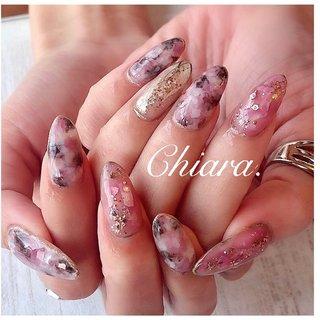 *   pinknails 💍♡  キラキラpink & ニュアンス 完全お任せdesign💍♥︎     いつも、ありがとう ♪ ☺︎💋♥︎        Instagram → yochan4.nail #春 #夏 #オールシーズン #デート #シェル #シースルー #タイダイ #大理石 #マーブル #ピンク #YokoShikata♡キアラ #ネイルブック