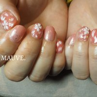 #桜ネイル #フラワー #ピンク #コーラルピンク #MAUVE_0905 #ネイルブック
