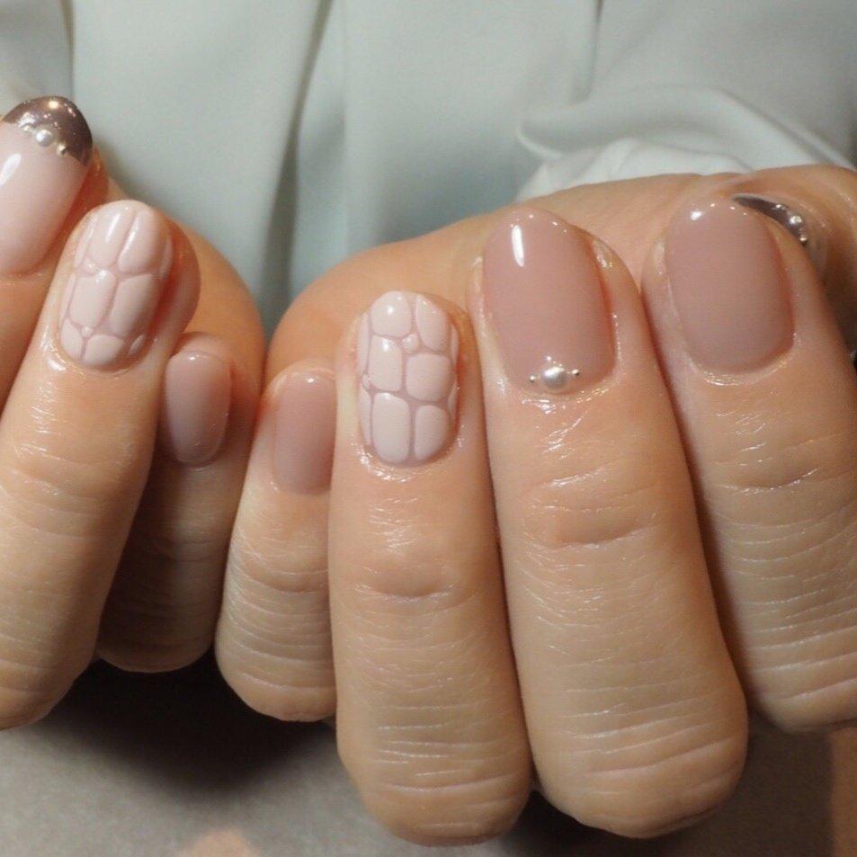 #クロコダイル #ピンク #くすみピンク #ミラー #MAUVE_0905 #ネイルブック