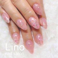 #桜ネイル #春 #ハンド #フラワー #ロング #ホワイト #ピンク #ジェル #お客様 #Lino #ネイルブック
