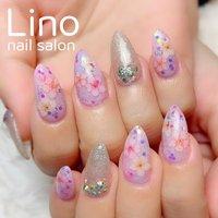 #桜ネイル #春 #ハンド #フラワー #ロング #ピンク #パープル #ジェル #お客様 #Lino #ネイルブック