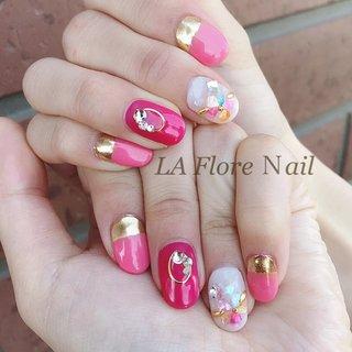 #春#ピンク#シェル#シェルフラワー #ミラー いつもありがとうございます😊❤️ #🌼LaFlore🌼 #ネイルブック