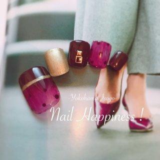 #大人フット#セクシーフットネイル #ドット柄 #磯子区ネイルサロン #フット #ラメ #ワンカラー #シースルー #ドット #ボルドー #ジェル #ネイルチップ #Nail Happiness!(ネイルハピネス)*ささきまき #ネイルブック