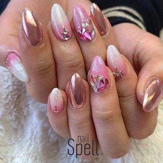 pink💅 ︙ #gelnail#gel#nailspell#nailstagrame #nailsalonspell #nails #春ネイル#ネイル#手描きアート#ジェルネイル#ネイルデザイン#派手ネイル#ネイルブック #kokoist#ストーンネイル#上田市ネイルサロン#pinknails #ミラーネイル#ピンクネイル #nailSpell_azusa #ネイルブック