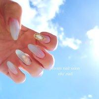 #ジェル #シンプル #クリア #nails #春 #春ネイル #春 #夏 #リゾート #ハンド #ミディアム #クリア #水色 #ジェル #お客様 #efu.nail #ネイルブック