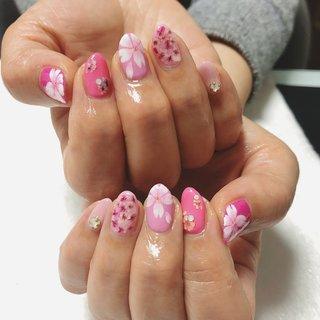 #桜ネイル #春ネイル #ピンク #Sweet puff #ネイルブック