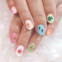 画像を参考に✨どうぶつの森ネイル🍎🍊😊  とってもかわいいです💕ありがとうございました✨   #ネイル #ジェルネイル #ネイルアート #nail #nails #nailart #gelnail #福岡ネイル #福岡ネイルサロン #大牟田ネイル #美甲 #どうぶつの森 #春 #シンプル #ワンカラー #キャラクター #ピンク #水色 #カラフル #saki_cinnamon #ネイルブック