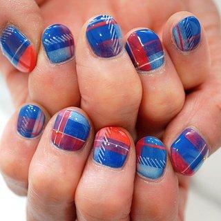 #ショートネイル#チェックネイル#個性派ネイル #ブルー #ange nail salon #ネイルブック
