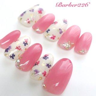 #春ネイル2020 #ピンクネイル #ドライフラワー #クリア #ピンク #Barber226_nail #ネイルブック