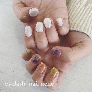 #eyelashnailnene #八千代台ネイルサロン#ニュアンスネイル #ちぐはぐネイル #ぽこぽこネイル#春カラー 担当小川 #お客様 #eyelash nail Nene #ネイルブック