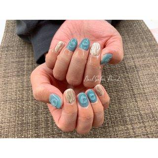 #ブルーネイル #ミラー #水滴 #Nail Salon Rose,h #ネイルブック