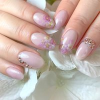 桜が大好きなお客様🌸🌸🌸 #春 #入学式 #デート #ラメ #ワンカラー #ビジュー #フラワー #ピンク #miwannie #ネイルブック