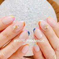 #ピンクマジック は京都市右京区西院のネイルサロンです。  #ハンドネイル #おしゃれネイル #西院ネイルサロン #秋ネイル #シンプルネイル#春ネイル #ハンド #フレンチ #ミディアム #ピンク #オレンジ #イエロー #ジェル #お客様 #Pinkmagic♡miki #ネイルブック