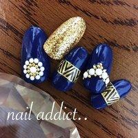 #Nailbook #秋 #ハンド #ラメ #ビジュー #エスニック #ミディアム #ブルー #ゴールド #ジェル #ネイルチップ #nail addict..*ネイルアディクト*大人の為のネイルサロン下関 #ネイルブック
