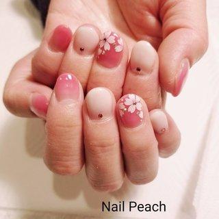 #桜ネイル #Nail Peach #ネイルブック