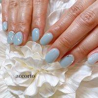 春らしいさわやかなブルーネイル☆  アクセントにシルバーを! #春 #ハンド #ワンカラー #ショート #水色 #ジェル #お客様 #accorto #ネイルブック