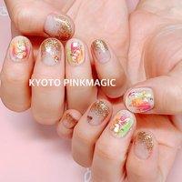 #ピンクマジック は京都市右京区西院のネイルサロンです。  #ハンドネイル #おしゃれネイル #西院ネイルサロン #秋ネイル #シンプルネイル#春ネイル #ハンド #ニュアンス #ショート #ピンク #オレンジ #ゴールド #ジェル #お客様 #Pinkmagic♡miki #ネイルブック