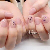 #ハンド #フラワー #押し花 #ピンク #ジェル #お客様 #nail salon Neco #ネイルブック