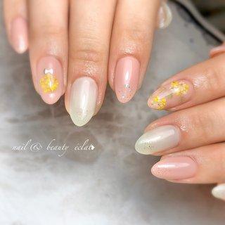 #春ネイル#ドライフラワーネイル#押し花ネイル#ワンカラーネイル #nail & beauty éclat❥ #ネイルブック