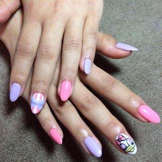 #3D #デイジーネイル #ピンク #紫 #キャラクター #ストライプ #3D #ピンク #パープル #パステル #ジェル #お客様 #m's_nails #ネイルブック