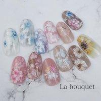 #春ネイル #お花ネイル #フラワーネイル #桜ネイル #ひまわりネイル #春 #ハンド #シンプル #フラワー #ミディアム #ベージュ #ピンク #パステル #ジェル #La bouquet ウサミレナ #ネイルブック