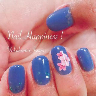 #桜ネイル #春ネイル2020 #青ネイル #磯子区ネイルサロン #春 #成人式 #卒業式 #入学式 #ワンカラー #ラメ #フラワー #ブルー #Nail Happiness!(ネイルハピネス)*ささきまき #ネイルブック