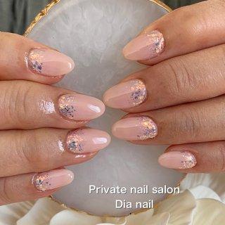 #春 #ハンド #グラデーション #ホログラム #ラメ #ワンカラー #Private nail salon Dia nail #ネイルブック