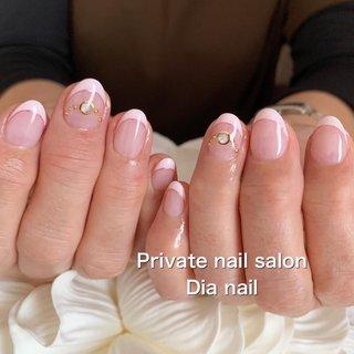 #春 #オフィス #ハンド #フレンチ #Private nail salon Dia nail #ネイルブック