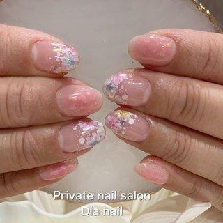 #春 #オフィス #ブライダル #ハンド #フレンチ #フラワー #Private nail salon Dia nail #ネイルブック