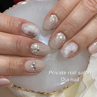 #春 #秋 #卒業式 #入学式 #ハンド #シンプル #ワンカラー #フラワー #Private nail salon Dia nail #ネイルブック