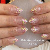 #春 #夏 #ハンド #グラデーション #ホログラム #Private nail salon Dia nail #ネイルブック
