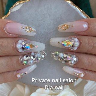 #春 #卒業式 #入学式 #ブライダル #ハンド #グラデーション #ビジュー #Private nail salon Dia nail #ネイルブック