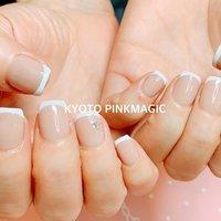 #ピンクマジック は京都市右京区西院のネイルサロンです。  #ハンドネイル #おしゃれネイル #西院ネイルサロン #秋ネイル #シンプルネイル#春ネイル #ハンド #フレンチ #ショート #ホワイト #ベージュ #ブラック #ジェル #お客様 #Pinkmagic♡miki #ネイルブック