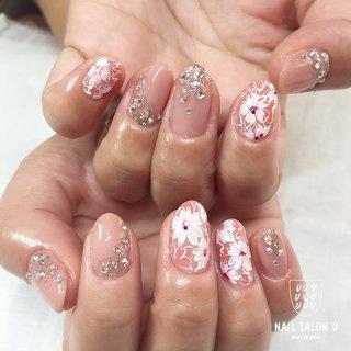 #春 #ハンド #フラワー #ピンク #シルバー #ジェル #お客様 #宮川麗 #ネイルブック
